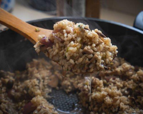 ריזוטו אורז עגול מלא ופטריות